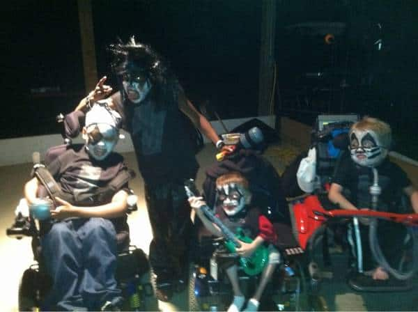 Just some awesome kids on breathing apparatus wearing KISS outfits