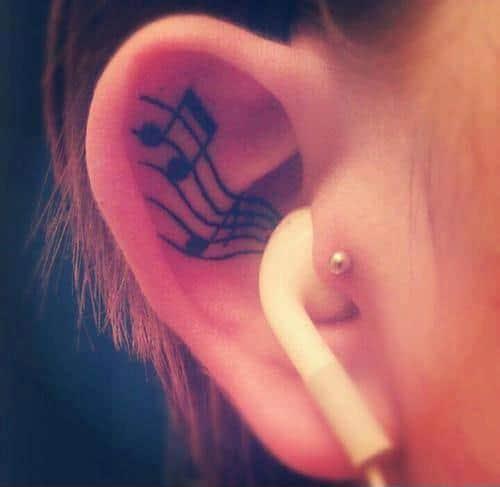 Musical Note Ear Tattoo