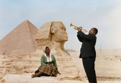 Louis Armstrong plays to his wife, Lucille, in Cairo, Egypt 1961.