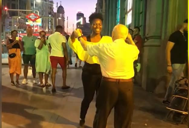 This video of an elderly man and a jazz singer dancing has gone viral